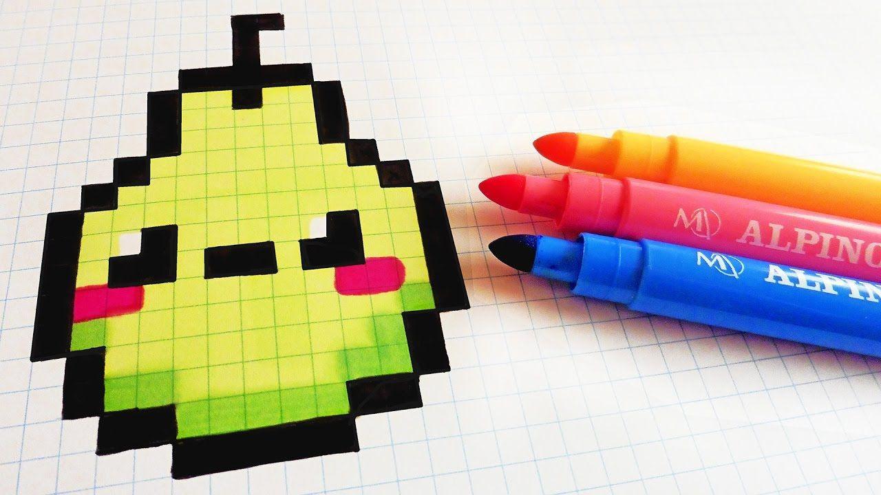 handmade pixel art  how to draw kawaii pear pixelart