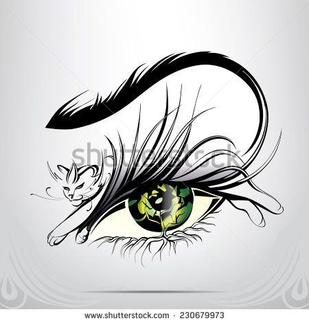 vector silhouette of eyes with cat tatoo katze tattoo. Black Bedroom Furniture Sets. Home Design Ideas