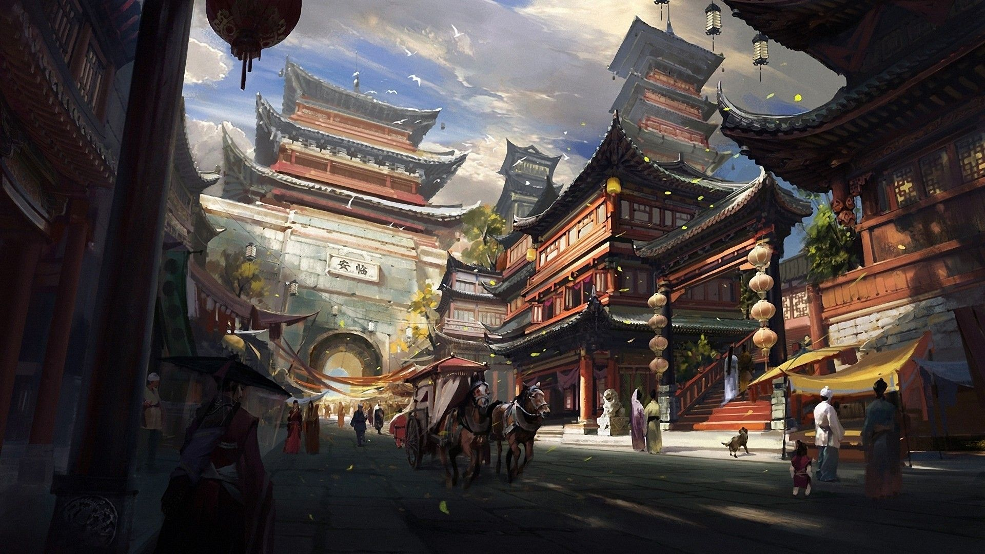 chinese style fantasy art asian architecture town horse general