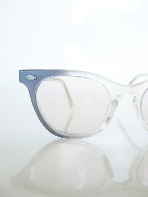 Vintage SMOKE Gray Blue Eyeglasses Glasses Lades Womens HORN RIM 1950s 1960s 60s Mad Men