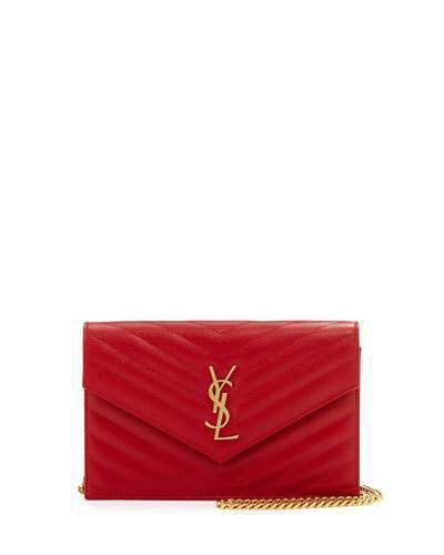 YSL Monogram Chain Wallet In Y Nude Pink Matelasse Leather