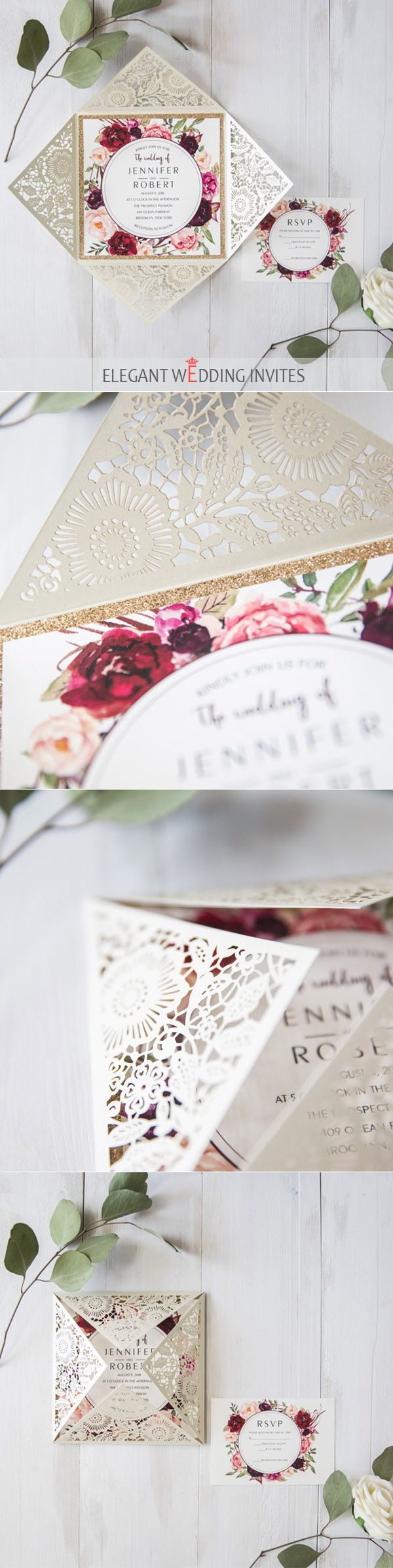 Ivory laser cut floral unique wedding invitations with glittery ...