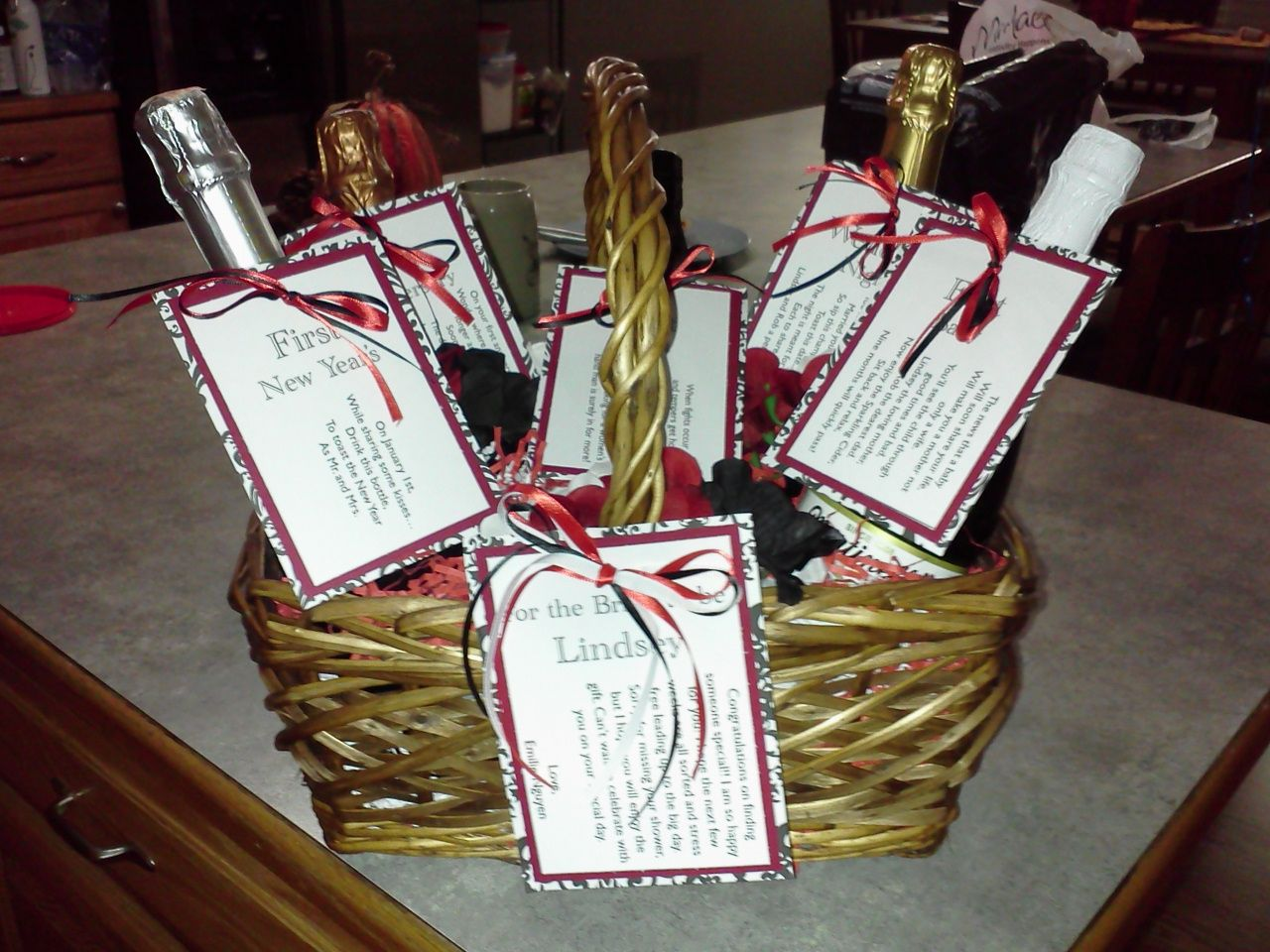 Opening Wedding Gifts: Bridal Shower Gift Basket... Do With Something Other Than