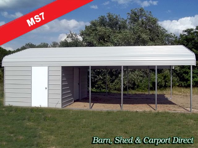 24x50 Combo Utility Building Enclosed And Open Combo Building Metal Building Prices Metal Buildings Utility Buildings