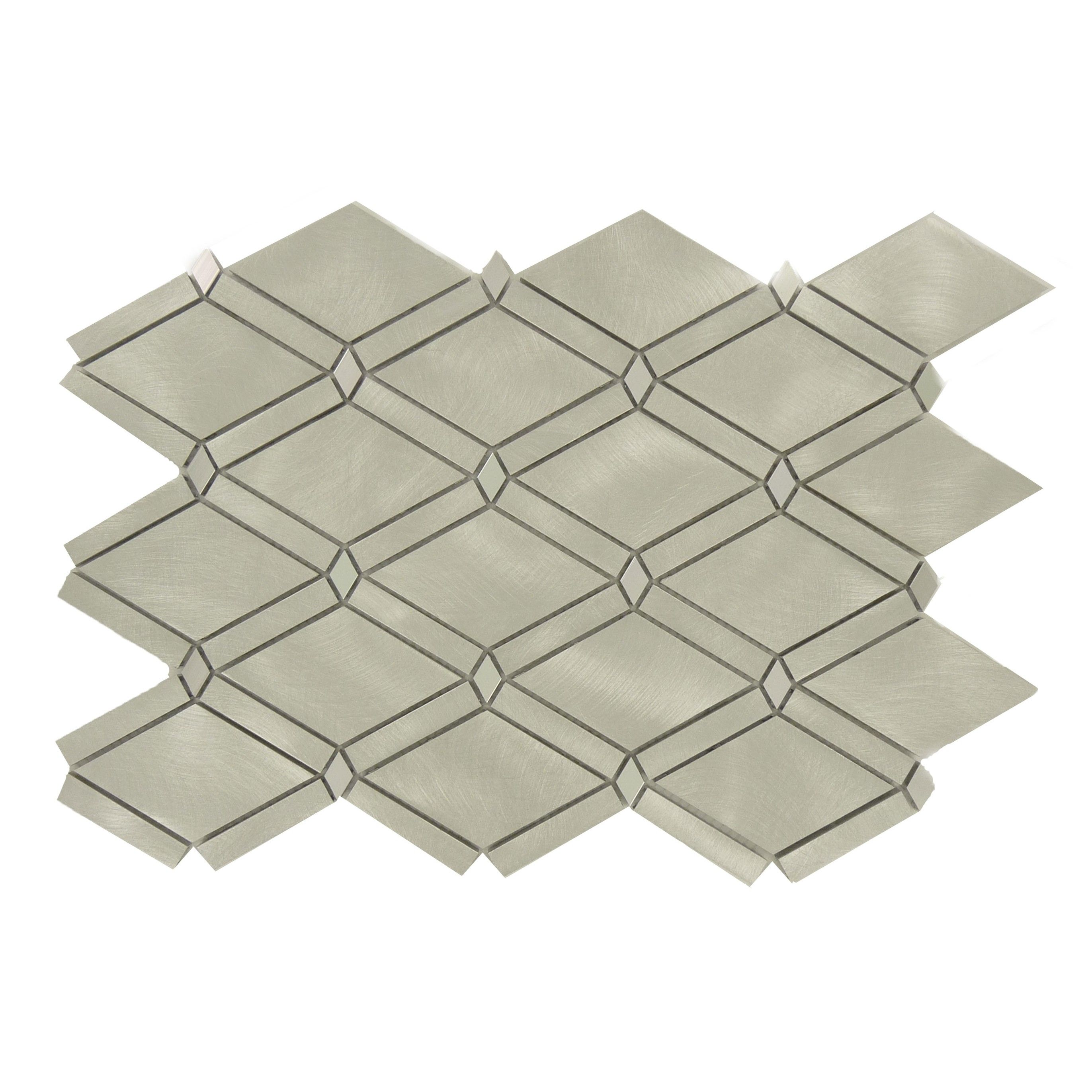 Sheet Size 10 1 2 X 15 1 2 Tile Size 2 1 8 X 3 3 8 Tile Thickness 1 4 Nominal Grout Joints 1 8 Sheet Mount Mesh Backed Mosaics Metal