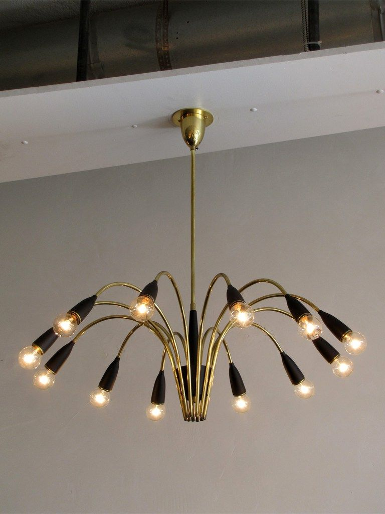 Elegant twelve light chandelier in brass with black bakelite cups elegant twelve light chandelier in brass with black bakelite cups and brass accents you have arubaitofo Choice Image
