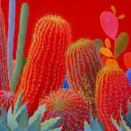 Desert Brilliance Contemporary Cactus Art By Sharon Weiser
