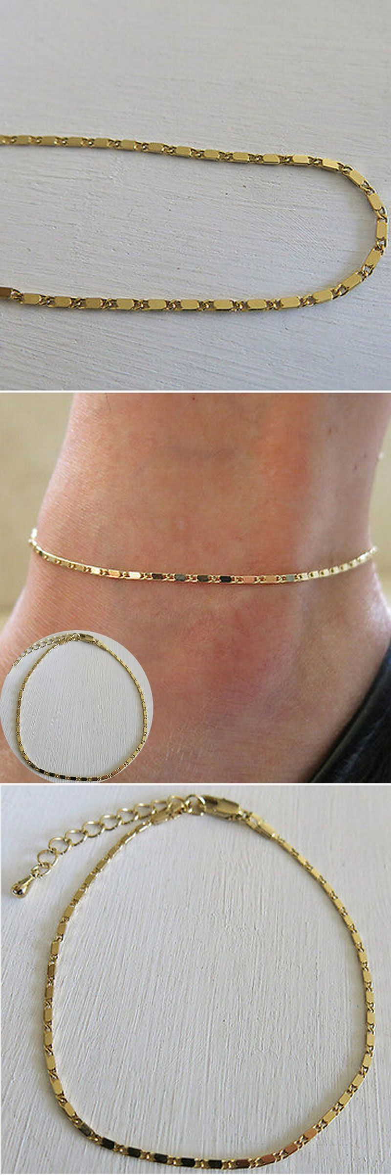 tri anklet oval inch bracelets link adjustable in bracelet pin color ankle gold