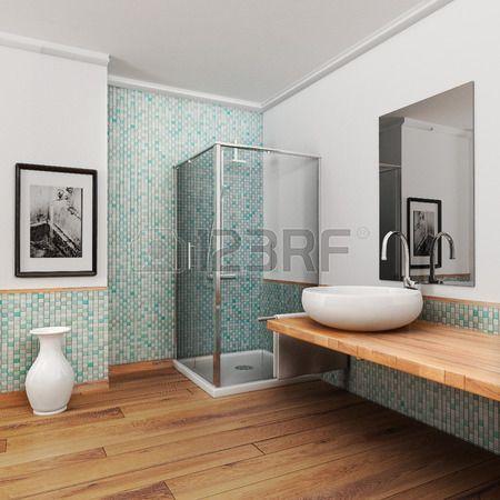ampio bagno con pavimento in legno e la luce mosaico epoca blu e ...