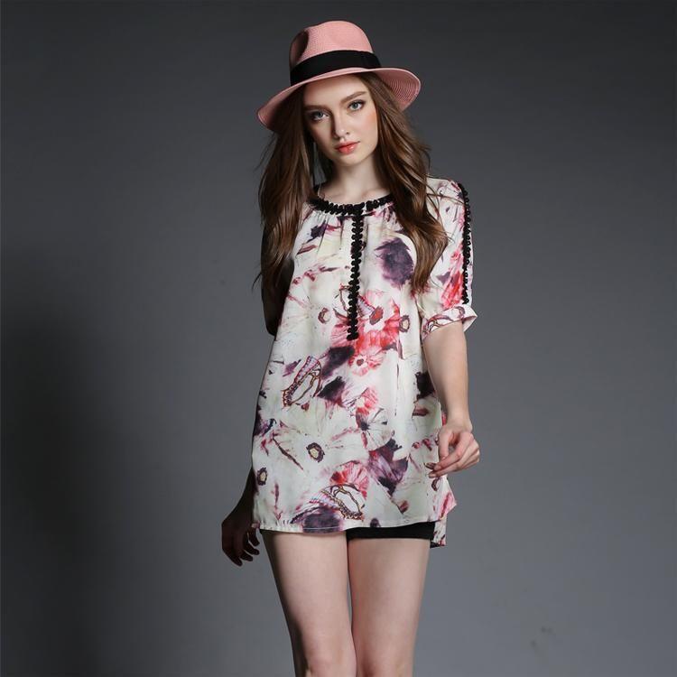 Купить оптом плюс размер женщины повседневная блузка свободные wasit 2015 новый дамы цветочный принт блуза шифон рубашка высокого качества дизайнера бренда топы в категории рубашки и блузки по цене $12.57