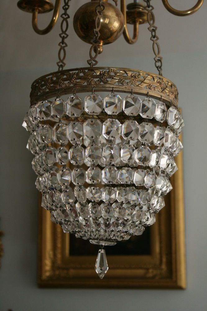 Beautiful Large Antique Art Deco Bag Chandelier, French Crystal in Antiques,  Architectural Antiques, - Beautiful Large Antique Art Deco Bag Chandelier, French Crystal In
