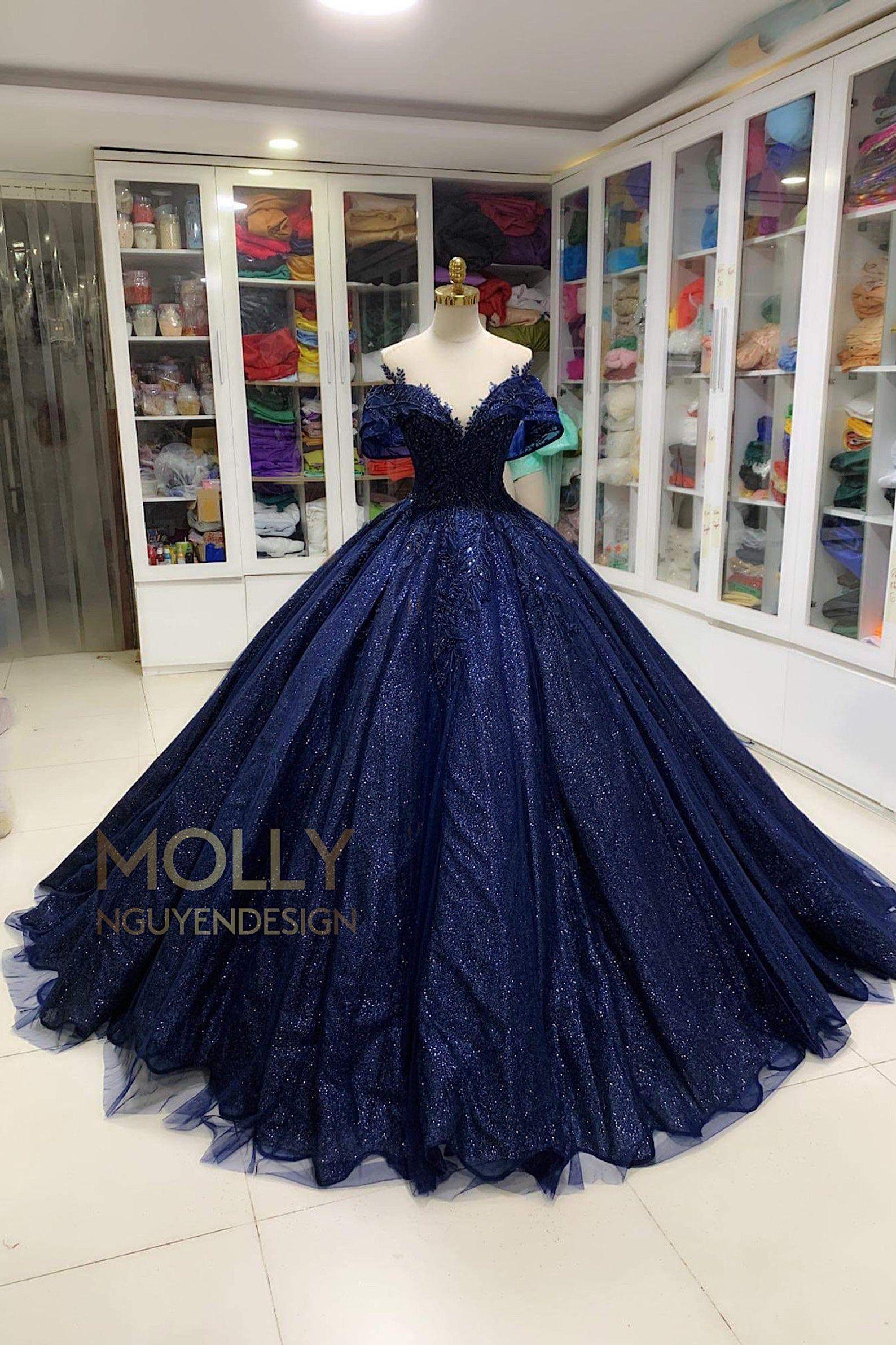 Dark Blue Sparkly Dress Dark Blue Ballgown Quinceanera Dress Blue Off Shoulder Black Blue Dress In 2021 Blue Sparkly Dress Sparkly Dress Quinceanera Dresses Blue [ 2383 x 1588 Pixel ]