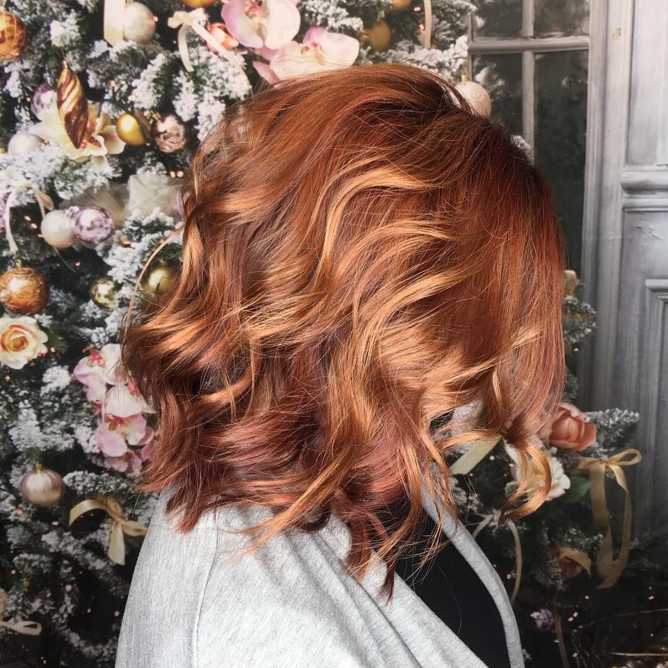 Red hair, lob, cute hair styles, highlights, auburn, copper,  short red hair, copper balayage, short beach waves, balayage. Courtesy of Vanity Hair, Portsmouth NH. #copperbalayage