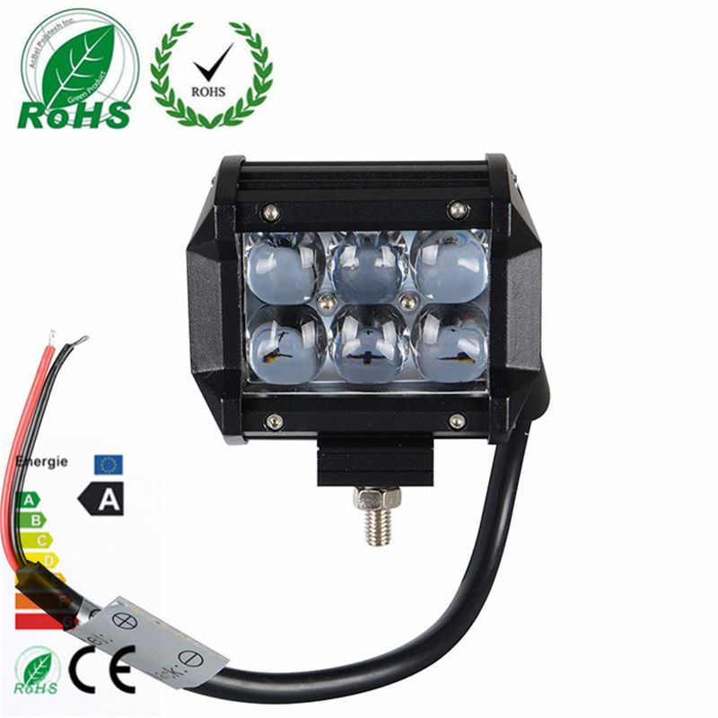 1pc 4 Inch 4d 18w 6led Projector Len Spot Beam Led Work Light Lamp For Atv Truck Tractor Suv Jeep Work Lights Led Work Light Bar Lighting