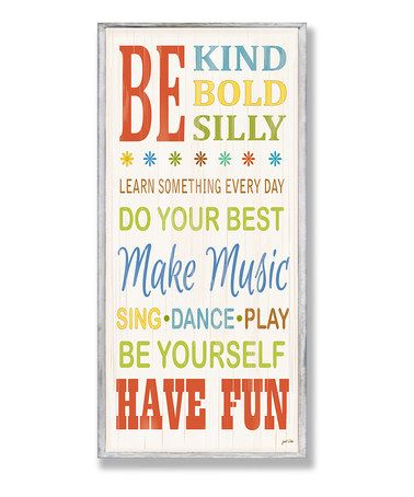 Loving this Be Kind & Silly Typography Wall Plaque on #zulily! #zulilyfinds