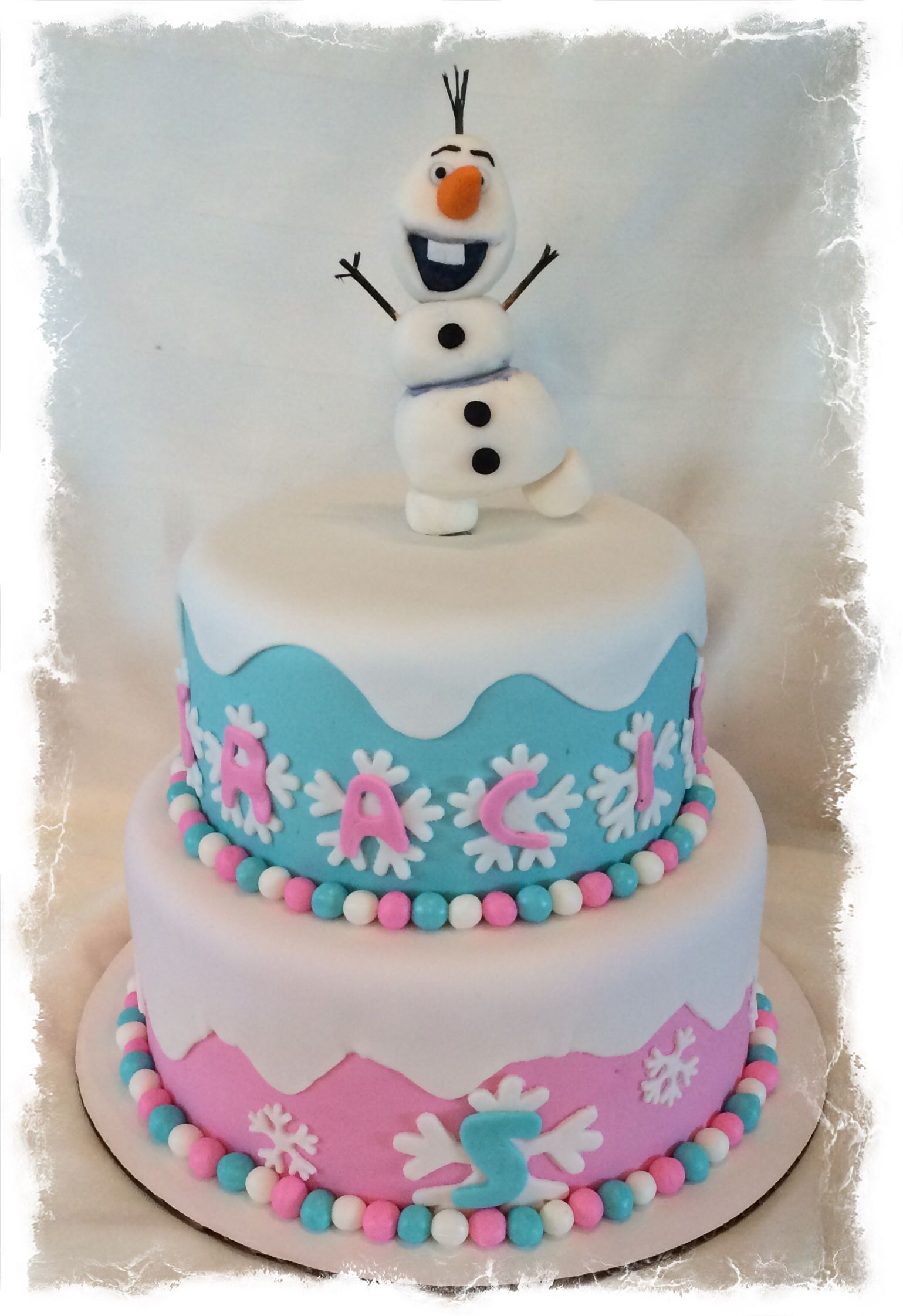 2 Tier Frozen Cake With 3d Olaf With Images Olaf Cake