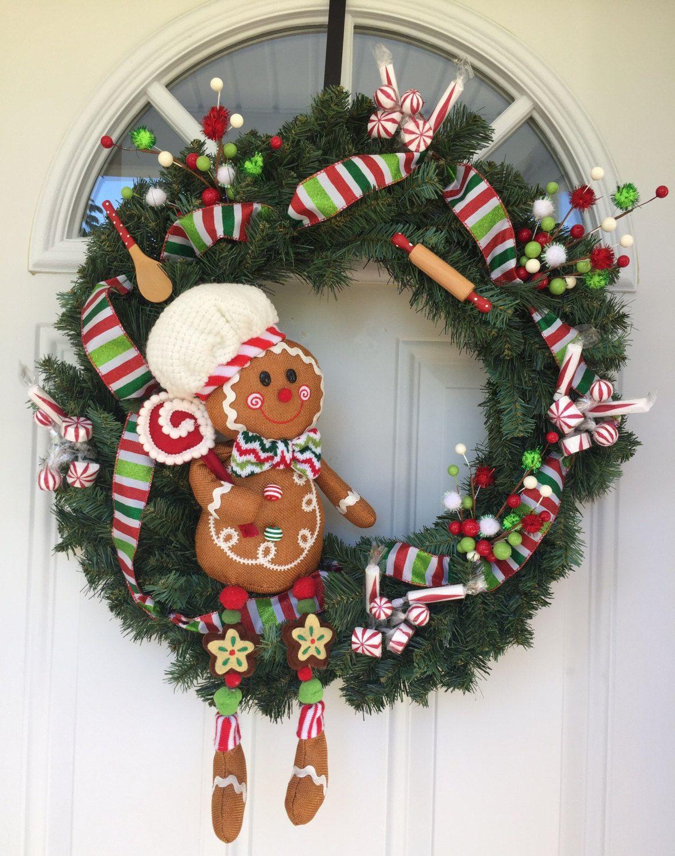 Christmas wreath, gingerbread man wreath, outdoor door decoration, front  door wreath, door