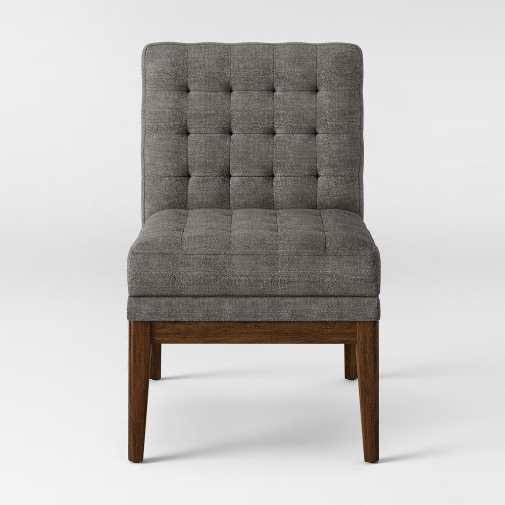 Target Newark Accent Chair: Newark Tufted Slipper Chair With Wood Base Light Gray
