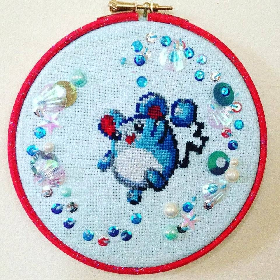 Pokemon Cross-Stitch Hoops made by MissingYAS -