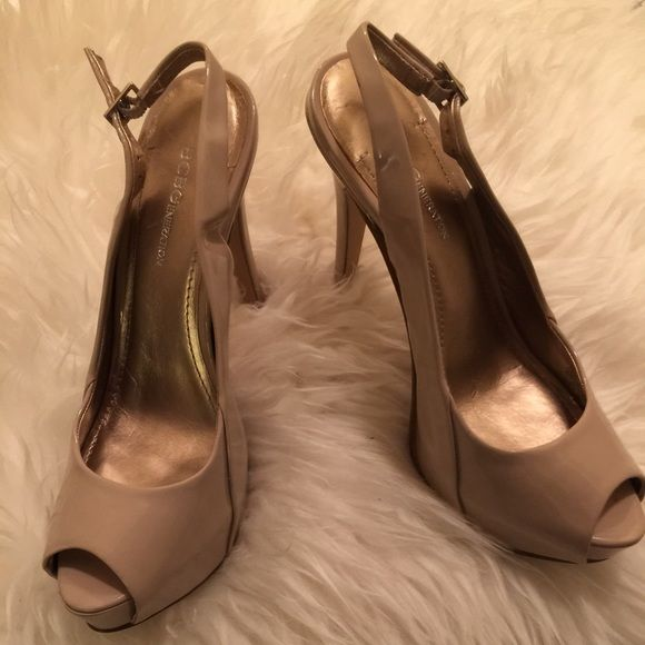 Sling back platform heels. Gently worn 5 3/4 in heel, 1 1/2 in  platform. slight mark on the outside of the right shoe See pic. BCBGeneration Shoes Heels