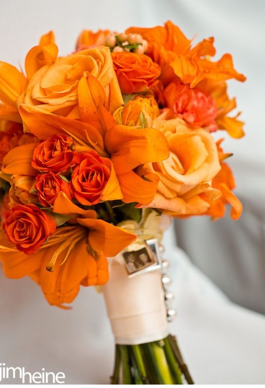 Summer Orange Wedding Bouquet - Orange Lilly's, double tulips, voodoo roses, and hypericum berries