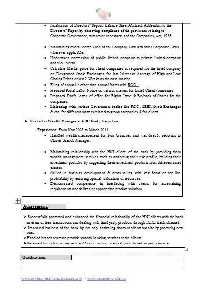 Best Company Secretary Resume Page 2 Best Careers Company Secretary Resume Format