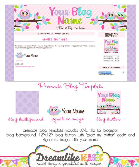 Blogger Template- Pink Stripes with Sweet Hoots Design. $30.00, via Etsy. - Want my blog to look something like this.