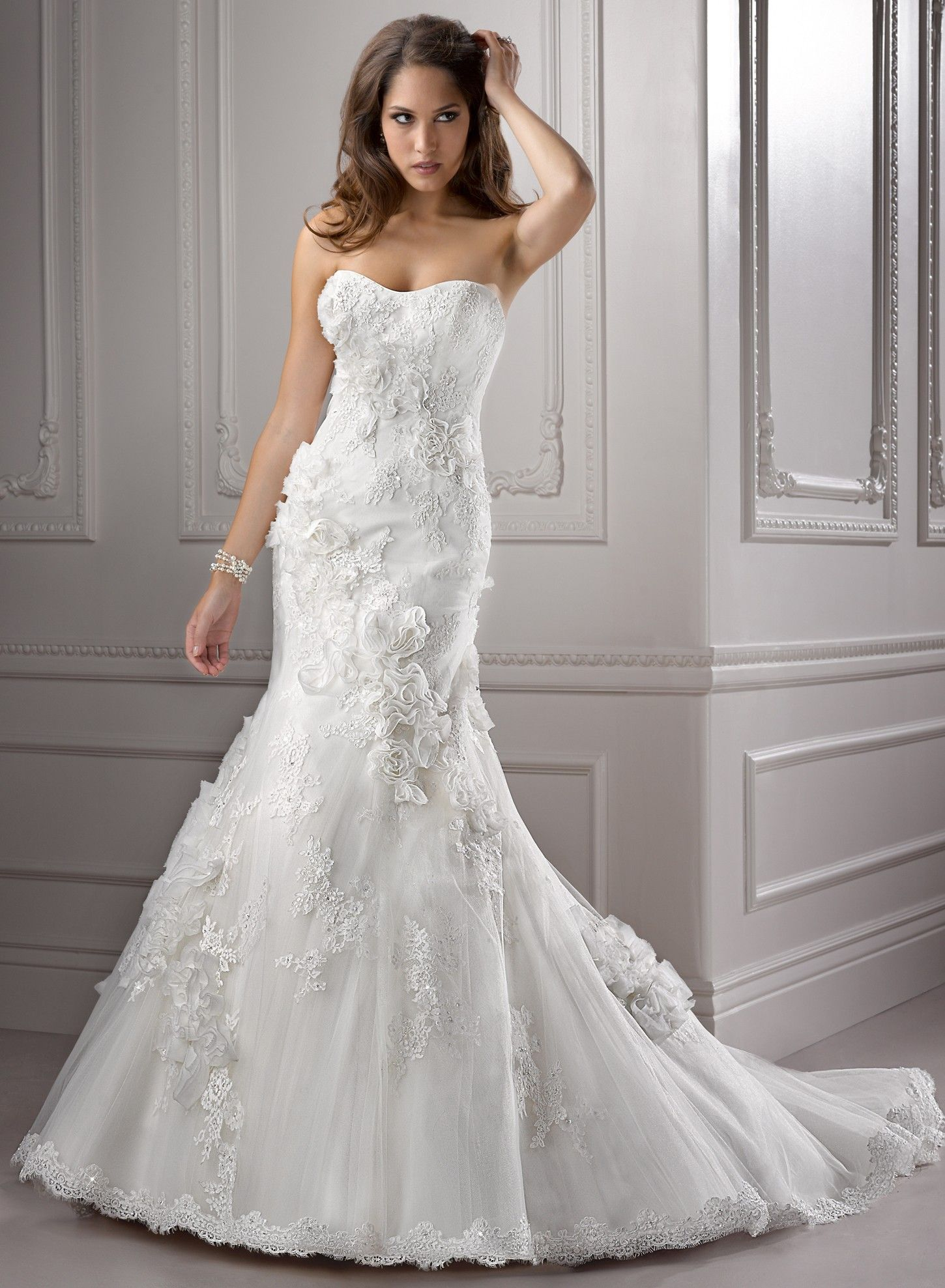 Lace cap sleeve a line wedding dress  Lace and Tulle Capsleeves Neckline Fit and Flare Aline Wedding
