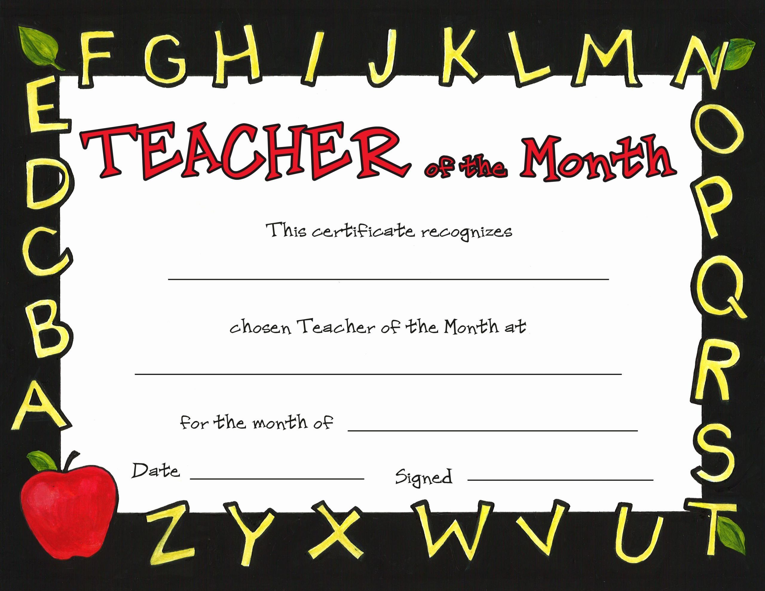 Teacher Of The Month Certificate Template Fresh Teacher Of The Month Student Of The Month Certificate Templates Birth Certificate Template
