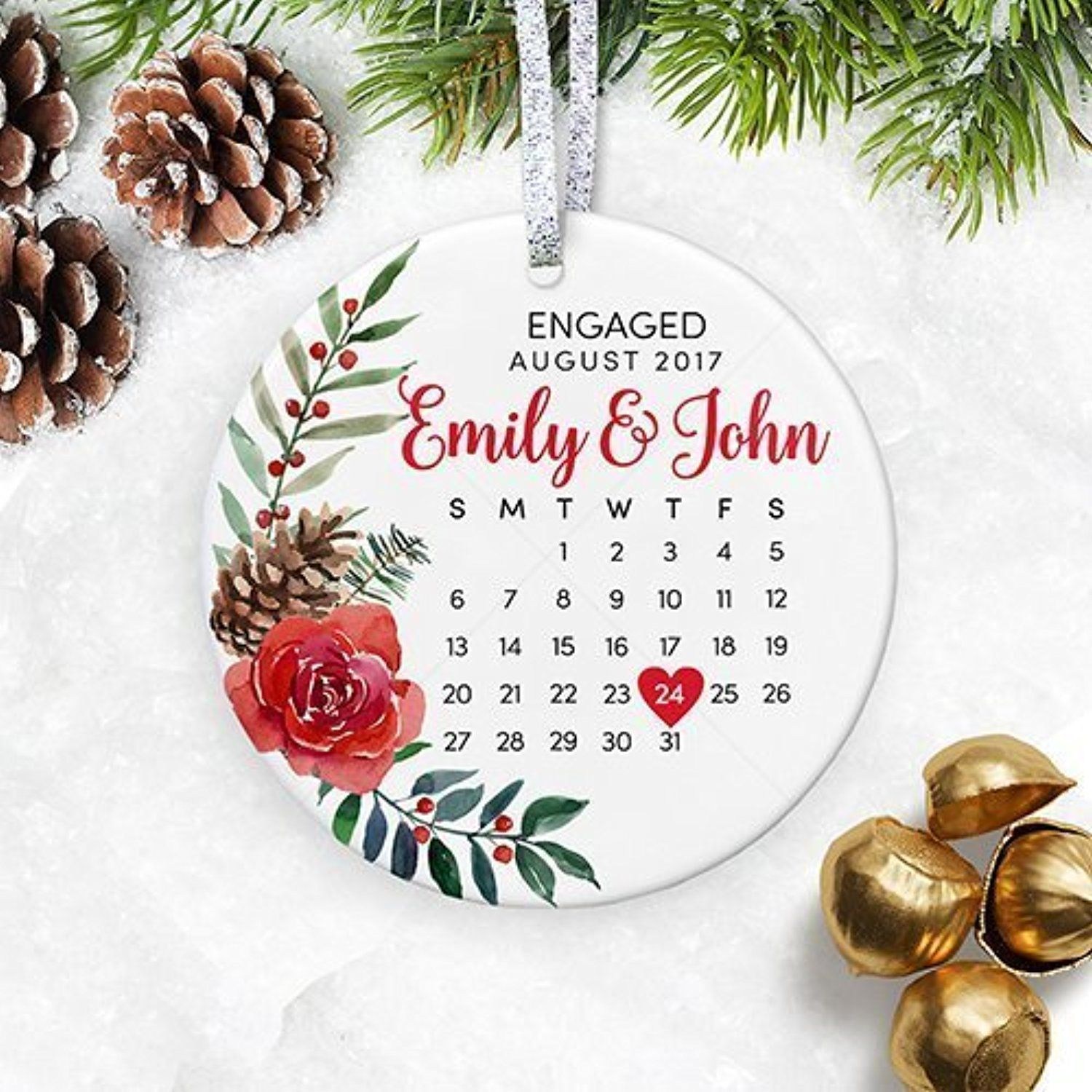 Floral personalized engagement gift with date for newly engaged