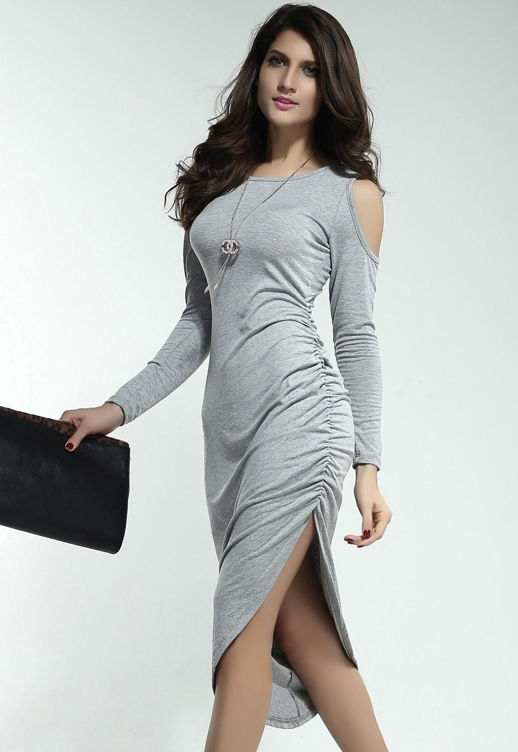 Dolly cut out shoulders ruched side midi dress longsleeved dress