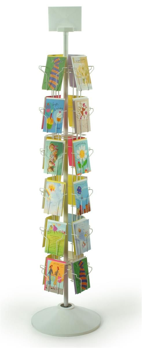 6 tiered greeting card rack for floor 24 pockets with sign clip greeting card display rack spinner for 5 x 7 cards floor standing fixture with rotating design white welded wire with plastic base and sign holder m4hsunfo