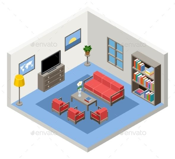 Interior Of An Isometric Room With Furniture With Images