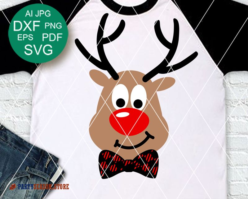 Merry Christmas Decor Rudolph The Red Nosed Reindeer Svg Deer Antlers Svg Files Buffalo Plaid Bow Cricut Downloads Silhouette Dxf Png Pdf