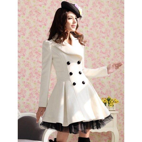 2012 Free Shipping Sweet Luxury Lady fashion winter long Outwear... via Polyvore