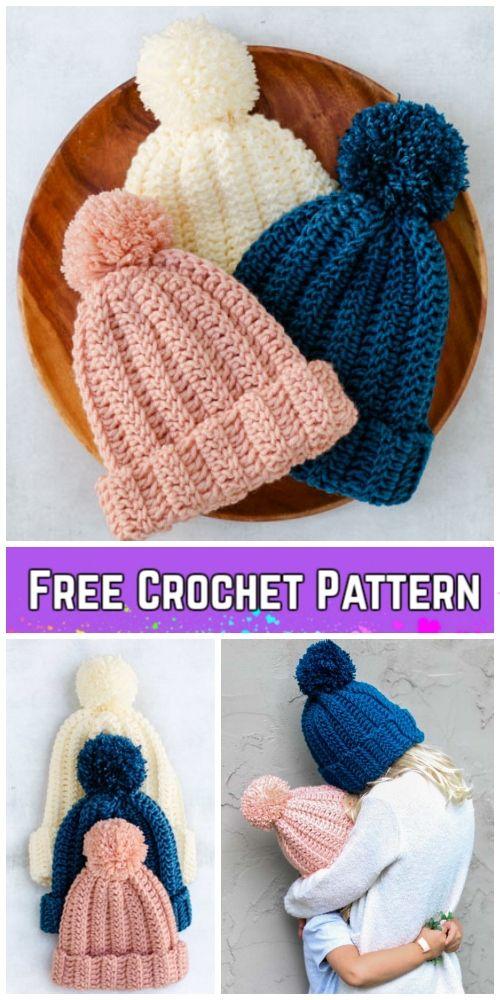 Beginner Easy 1-Hour Crochet Beanie Hat Free Crochet Pattern - All ...