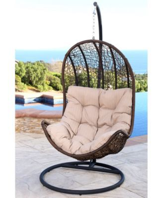 Jennifer Outdoor Wicker Egg Shaped Swing Chair Quick Ship Brown