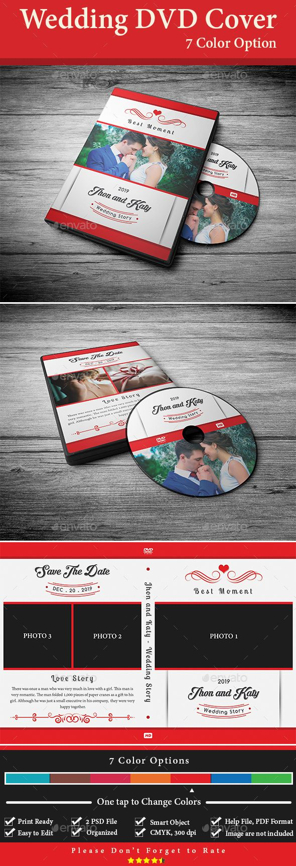 wedding dvd cover template psd 7 color options cd dvd cover