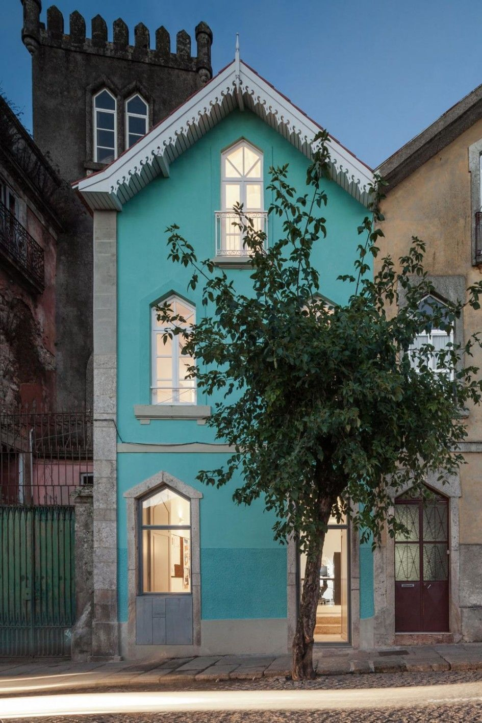 home design unique small house blue color paint exterior in