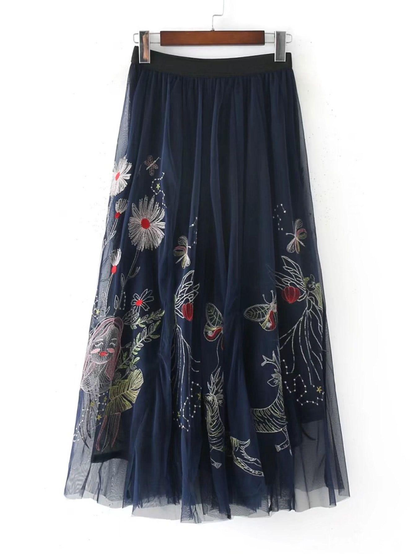 ef72da8f9 Shop All Over Flower Embroidered Mesh Overlay Skirt online. SheIn offers All  Over Flower Embroidered Mesh Overlay Skirt & more to fit y…
