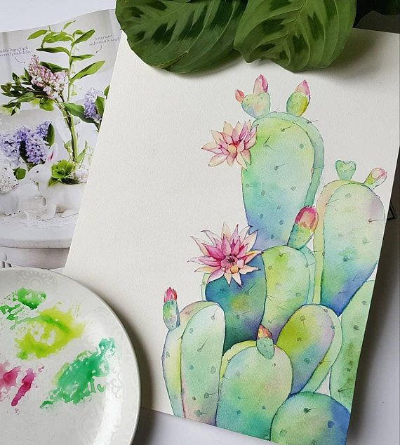 Cactus Decor Wall Art Cactus Print Watercolor Cactus Print, Digital Download Botanical Poster Watercolor Painting Tropical Botanical Art