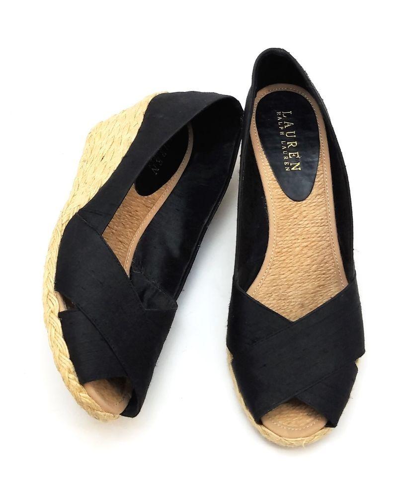 c0f663c2493 Lauren Ralph Lauren Cecilia Espadrille Black Shantung Silk Shoes ...