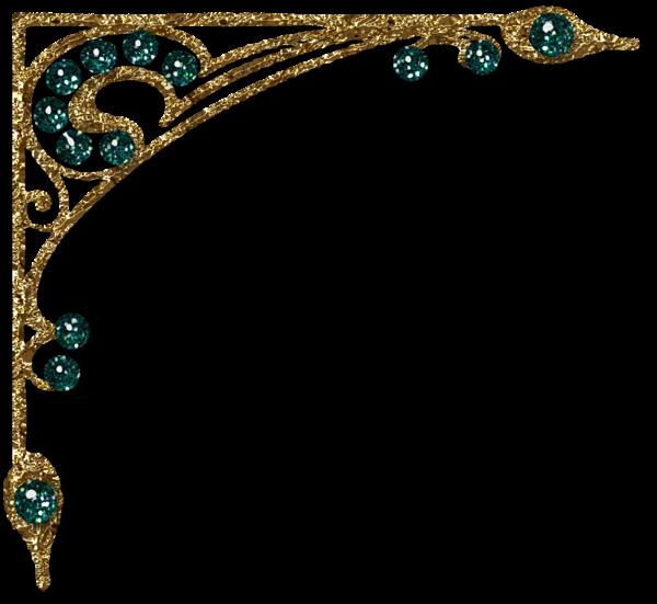 Transparent Gold Diamond Decorative Corner Clipart