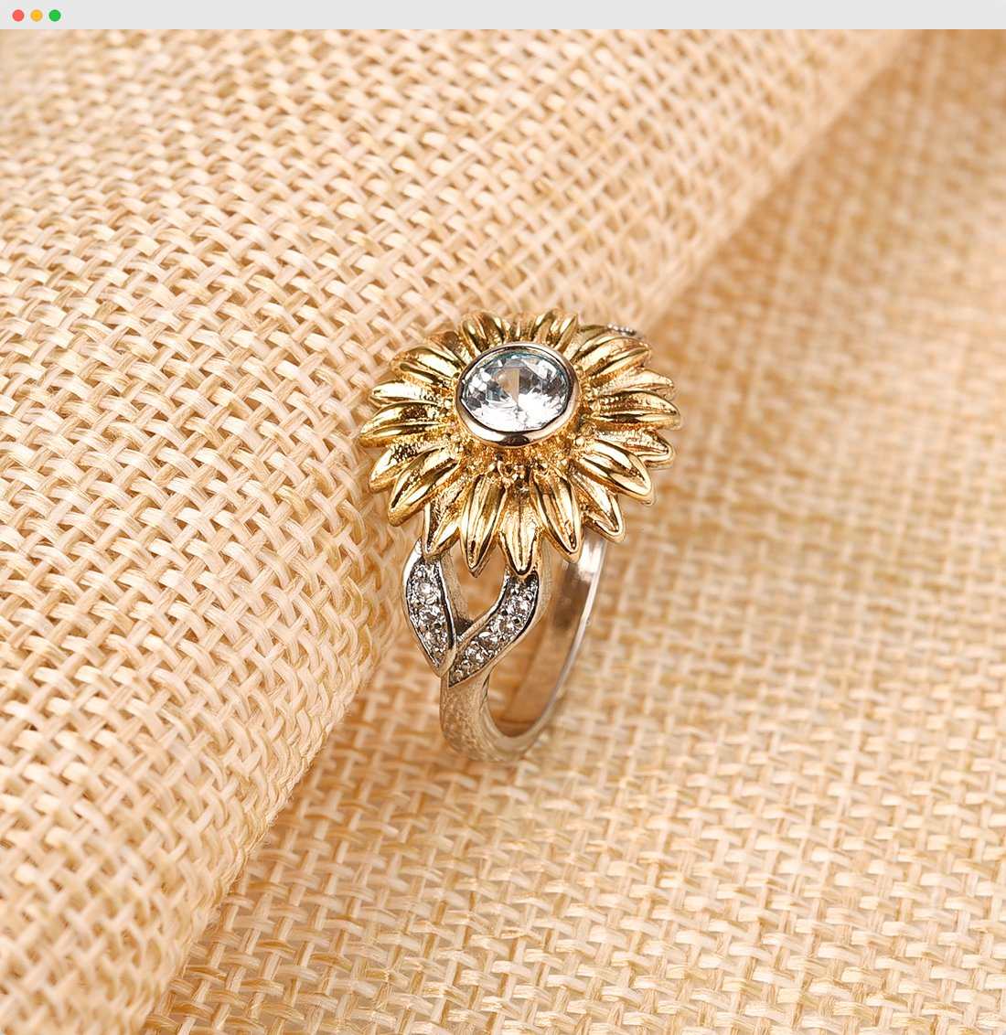 Sunflower Cubic Zirconia Wedding Ring Cubic zirconia