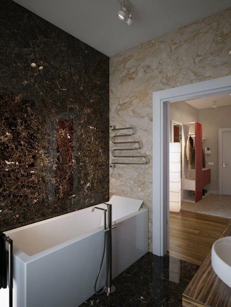 paredes marmol marron lujoso contraste Interiores para baños - baos lujosos