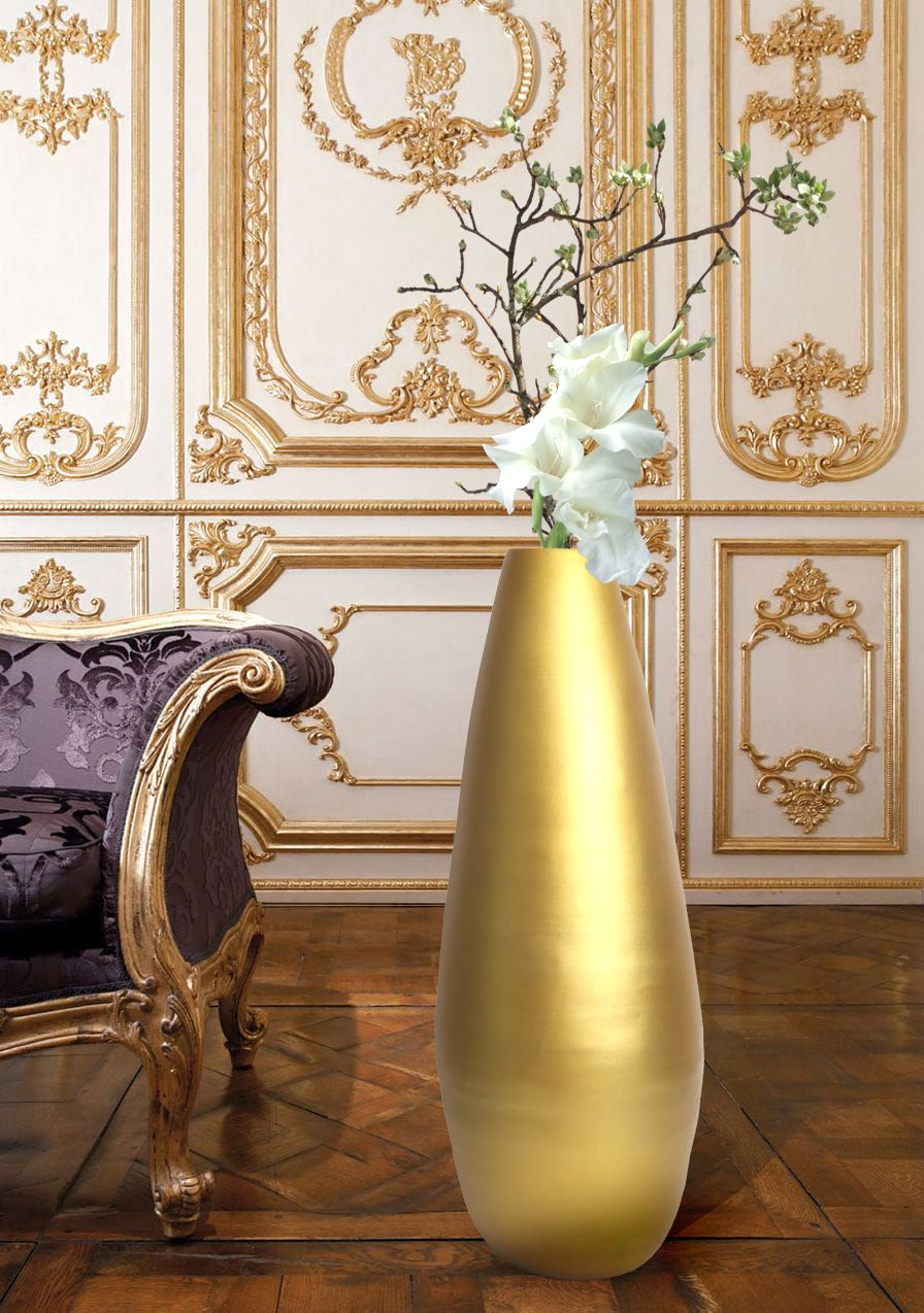 "31.5"" Spun Bamboo Modern Metallic Tall Floor Vase Tall"