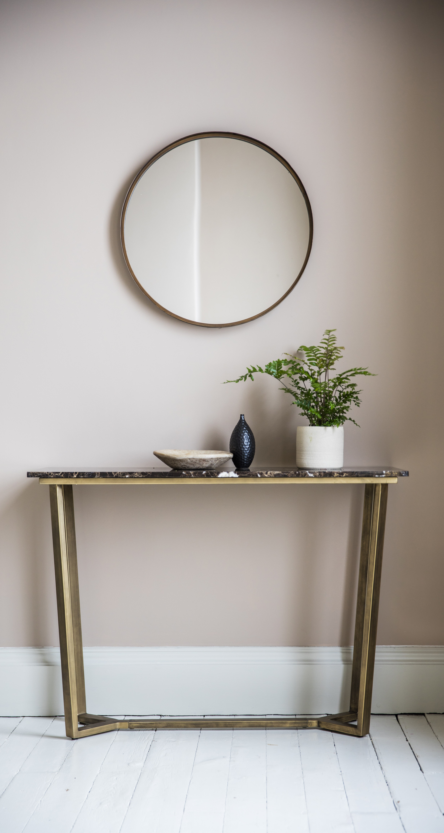 Marble console table with brushed bronze base Trend Marble Dcor