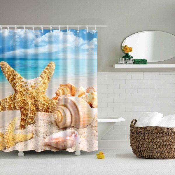 Waterproof Sea Starfish Shell Printed Bathroom Shower Curtain - halloween bathroom sets