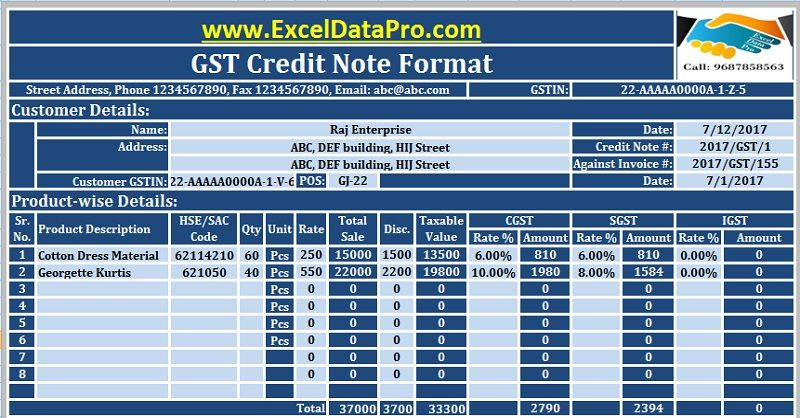 download gst credit note format in excel issued against goods return