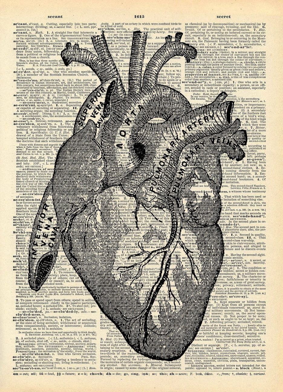 Vintage Book Art Print Anatomical Heart Art Upcycled Book Print